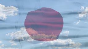 Japonia nieba flaga zbiory wideo