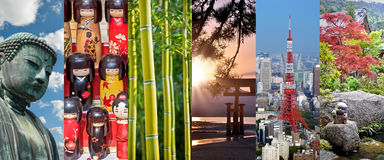 Japonia, panoramiczny fotografia kolaż, japońscy symbole, Japonia podróż, turystyki pojęcie fotografia stock