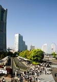 Japonia pejzaż miejski, ludzie przy pieszy iść ich praca fotografia royalty free