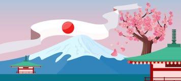 Japonia Podróżny sztandar japońscy punkt zwrotny ilustracja wektor