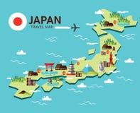 Japonia podróży i punktu zwrotnego mapa Płascy projektów elementy, ikony i V Obraz Stock