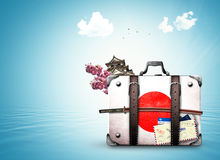 Japonia, retro walizka Obrazy Royalty Free