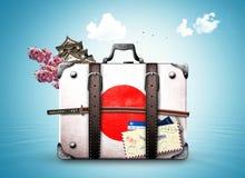 Japonia, retro walizka Obrazy Stock