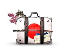 Japonia, retro walizka Zdjęcia Stock