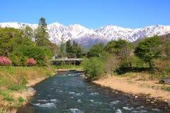 Japonia rzeka i Alps Obraz Stock