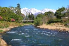Japonia rzeka i Alps Obraz Royalty Free