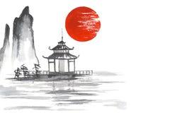 Japonia Sumi-e sztuki Słońce Tradycyjny japoński maluje jezioro Zdjęcie Stock