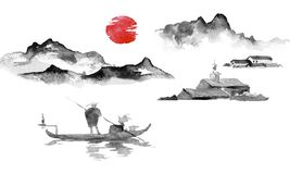 Japonia sumi-e tradycyjny obraz Indiańskiego atramentu ilustracja Mężczyzna i łódź duże krajobrazowe halne góry Zmierzch, półmrok royalty ilustracja