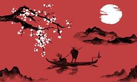 Japonia sumi-e tradycyjny obraz Indiańskiego atramentu ilustracja Mężczyzna i łódź Góra krajobraz z Sakura Zmierzch, półmrok ilustracji