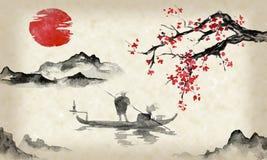 Japonia sumi-e tradycyjny obraz Indiańskiego atramentu ilustracja Mężczyzna i łódź Góra krajobraz z Sakura Zmierzch, półmrok royalty ilustracja