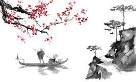 Japonia sumi-e tradycyjny obraz Indiańskiego atramentu ilustracja Mężczyzna i łódź Zmierzch, półmrok Japoński obrazek ilustracji