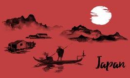 Japonia sumi-e tradycyjny obraz Indiańskiego atramentu ilustracja Mężczyzna i łódź Zmierzch, półmrok Japoński obrazek royalty ilustracja
