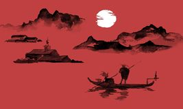 Japonia sumi-e tradycyjny obraz Indiańskiego atramentu ilustracja Mężczyzna i łódź duże krajobrazowe halne góry Zmierzch, półmrok ilustracja wektor