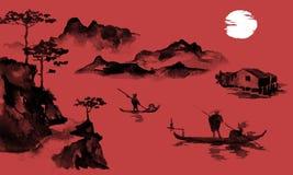 Japonia sumi-e tradycyjny obraz Indiańskiego atramentu ilustracja Mężczyzna i łódź Zmierzch, półmrok Japoński obrazek ilustracja wektor