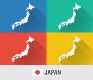Japonia światowa mapa w mieszkanie stylu z 4 kolorami Obraz Royalty Free