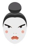 Japonia. Z tradycyjnym makijażem Gejszy wektorowa twarz Obrazy Royalty Free