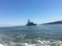 Japoński niszczyciel na zatoce Zdjęcia Royalty Free