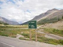 Japser - lac Luise - poteau indicateur au milieu de nulle part, Etats-Unis image libre de droits