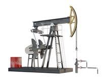 Jaque da bomba de óleo isolado no fundo branco Imagem de Stock