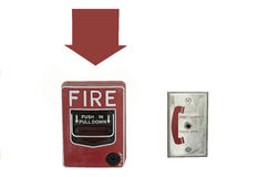 Jaque do alarme de incêndio e de telefone no isolado branco do fundo Foto de Stock