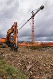 Jaque profissional do martelo para que a construção e um guindaste projete a máquina escavadora unifamiliar do jackhammer do hous fotografia de stock