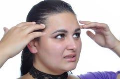 Jaqueca y dolor de cabeza foto de archivo libre de regalías