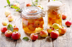 Jar of apple jam with fresh fruits Stock Images
