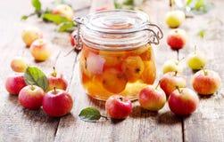 Jar of apple jam with fresh fruits Royalty Free Stock Image