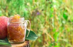 Jar of apple jam at left side Stock Image