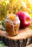 Jar of apple preserves Royalty Free Stock Image