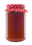 Jar of Apricot Jam. Isolated On White Background Stock Photo