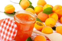 Jar of apricot jam Royalty Free Stock Photo