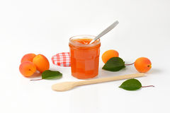Jar of apricot jam Stock Images