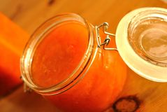 Jar of apricots jam Royalty Free Stock Photo