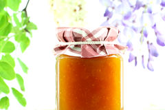 Jar of apricots jam, detail Royalty Free Stock Images