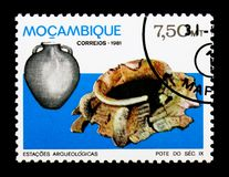 Jar, Archaeological Sites in Mozambique serie, circa 1981. MOSCOW, RUSSIA - DECEMBER 21, 2017: A stamp printed in Mozambique shows Jar, Archaeological Sites in royalty free stock image