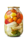 Jar of assorted pickled vegetables Stock Photography