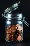 Jar av mynt Royaltyfria Bilder