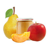 Jar of baby puree, apple, pear and peach isolated on white Royalty Free Stock Image