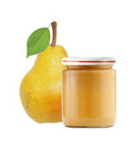 Jar of baby puree and fresh yellow pear with green leaf isolated Stock Photos