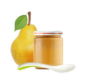Jar of baby puree and fresh yellow pear with green leaf isolated Royalty Free Stock Photo