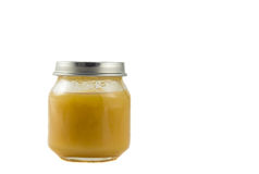 Jar of baby puree Stock Images