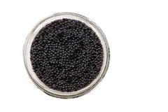 Jar of back caviar Stock Photos