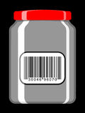 Jar with bar code label Royalty Free Stock Photos