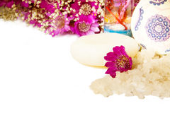 Jar of bath sea salt and violet flowers. Jar of bath sea salt, soap and violet flowers Stock Photos