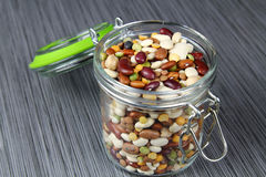 Jar of beans royalty free stock photography