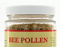 Jar of Bee Pollen. Closeup of a jar of bee pollen Stock Photography