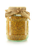 Jar with bee pollen isolated on white Stock Photo