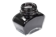 Jar of black ink Stock Photos
