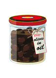 Jar of black olives in oil Stock Photography